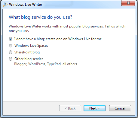 Windows Live Writer Blog Service